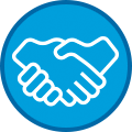 Icon of Hands Shaking on Blue Circle With Dark Blue Outline