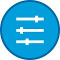 Icon of Sliders on Blue Circle With Dark Blue Outline