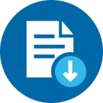 White Icon of Document with Download Symbol on Blue Circle Background