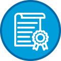 Icon of White Document with Ribbon on Blue Circle With Dark Blue Outline