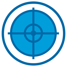 Icon of Blue Target on White Circle With Blue Outline