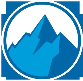 Icon of Blue Mountain Peak on White Circle With Blue Outline