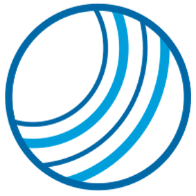 Illustrative Icon of Blue Threads on a White Circle Background with Dark Blue Border