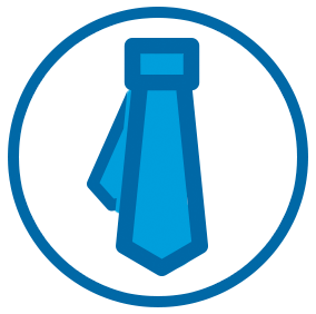Icon of Blue Tie on White Circle With Blue Outline