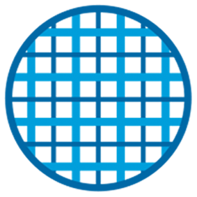 Illustrative Icon of Blue Weaved Threads on a White Circle Background with Dark Blue Border