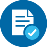 Icon of White Document with a Blue Check Mark Symbol on a Dark Blue Circle Background