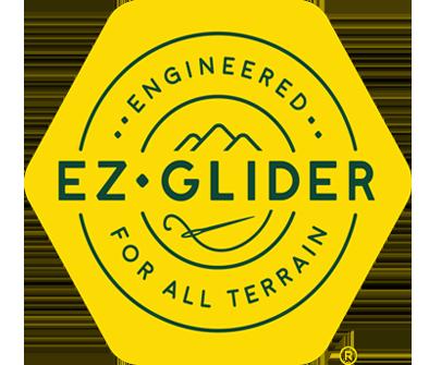 "Yellow EZGlider Socks Logo w/ Green Text ""Engineered For All Terrain"""